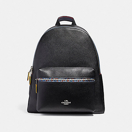 COACH f22235 CHARLIE BACKPACK WITH EDGEPAINT SILVER/BLACK MULTI