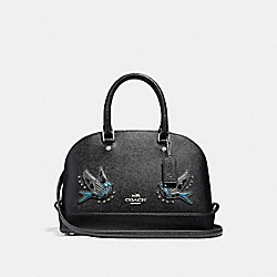 COACH MINI SIERRA SATCHEL WITH BIRD - SILVER/BLACK - F22254