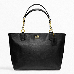 COACH MADISON LEATHER LARGE TOTE - BRASS/BLACK - F22263