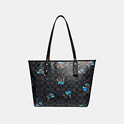 COACH CITY ZIP TOTE WITH BIRD PRINT - SILVER/BLACK SMOKE - F22293