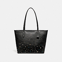 COACH CITY ZIP TOTE WITH STARDUST STUDS - SILVER/BLACK - F22299