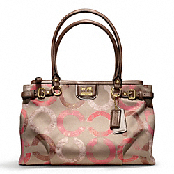 COACH MADISON METALLIC GESSO OP ART KARA CARRYALL - BRASS/KHAKI/CORAL - F22326