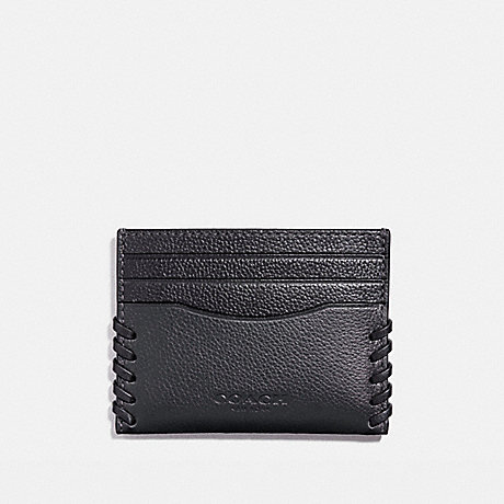 COACH SLIM CARD CASE WITH BASEBALL STITCH - BLACK - f22370