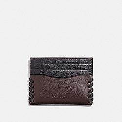 COACH SLIM CARD CASE WITH BASEBALL STITCH - OXBLOOD/BLACK - F22370