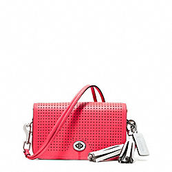 COACH PERFORATED LEATHER PENNY SHOULDER PURSE - SILVER/WATERMELON/SNOW - F22387