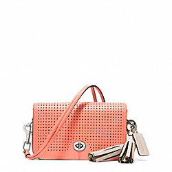 PERFORATED LEATHER PENNY SHOULDER PURSE - f22387 - 15692