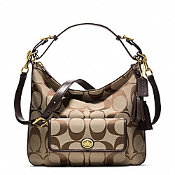 COACH SIGNATURE COURTENAY HOBO - BRASS/KHAKI/MAHOGANY - F22392