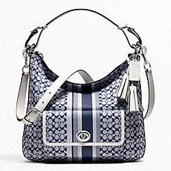 COACH SIGNATURE STRIPE COURTENAY HOBO - ONE COLOR - F22394