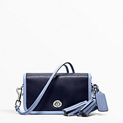 COACH ARCHIVAL TWO TONE LEATHER PENNY SHOULDER PURSE - SILVER/NAVY/CHAMBRAY - F22406