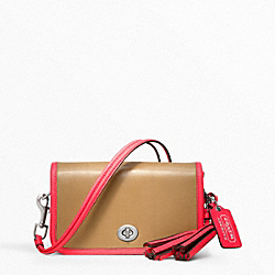 COACH PENNY ARCHIVAL TWO-TONE LEATHER SHOULDER PURSE - SILVER/LIGHT SAND/WATERMELON - F22406