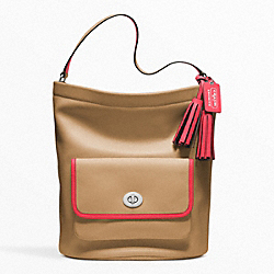 COACH ARCHIVAL 2-TONE LEATHER BUCKET - SILVER/LIGHT SAND/WATERMELON - F22407