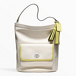 COACH ARCHIVAL 2-TONE LEATHER BUCKET - SILVER/PARCHMENT/CITRINE - F22407