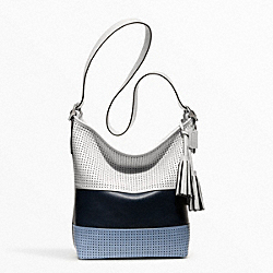 PERFORATED RUGBY STRIPE DUFFLE - SILVER/DARK NAVY MULTICOLOR - COACH F22412