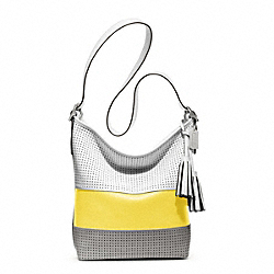 COACH PERFORATED RUGBY STRIPE DUFFLE - ONE COLOR - F22412