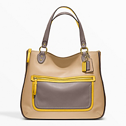 POPPY LEATHER COLORBLOCK HALLIE TOTE - f22430 - 24942
