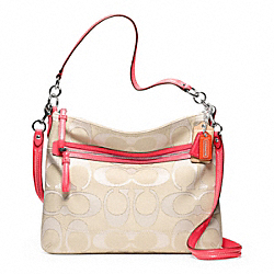 POPPY SIGNATURE METALLIC OUTLINE PERRI HIPPIE - SILVER/LIGHT GOLDGHT KHAKI/CYCLAMEN - COACH F22456