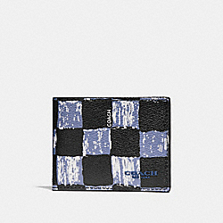 COACH SLIM BILLFOLD WALLET WITH GRAPHIC CHECKER PRINT - DUSK MULTI CHECKER - F22491