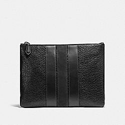 COACH MEDIUM POUCH WITH VARSITY STRIPE - BLACK - F22499