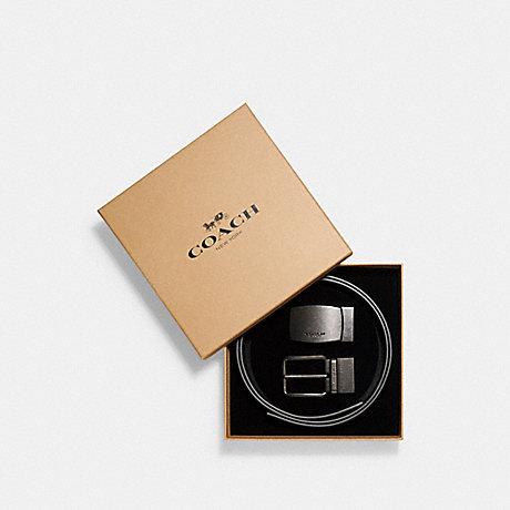 COACH BOXED HARNESS PLAQUE REVERSIBLE BELT - BLACK/BLACK - f22540