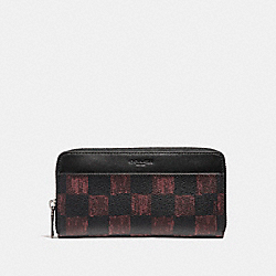 COACH ACCORDION WALLET WITH GRAPHIC CHECKER PRINT - OXBLOOD MULTI CHECKER - F22542