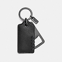 COACH BASEBALL STITCH BOTTLE OPENER KEY FOB - BLACK - F22544