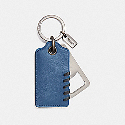 COACH BASEBALL STITCH BOTTLE OPENER KEY FOB - DENIM - F22544