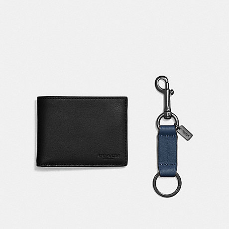 COACH BOXED SLIM BILLFOLD ID WALLET WITH TRIGGER SNAP KEY FOB - BLACK - F22697