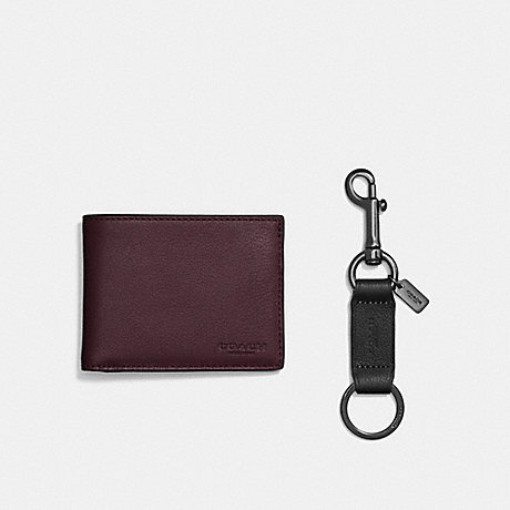 COACH BOXED SLIM BILLFOLD ID WALLET WITH TRIGGER SNAP KEY FOB - OXBLOOD - F22697