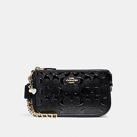 COACH LARGE WRISTLET 19 IN SIGNATURE LEATHER WITH CHAIN - BLACK/BLACK/LIGHT GOLD - F22698