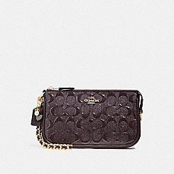 COACH LARGE WRISTLET 19 WITH CHAIN - LIGHT GOLD/OXBLOOD 1 - F22698