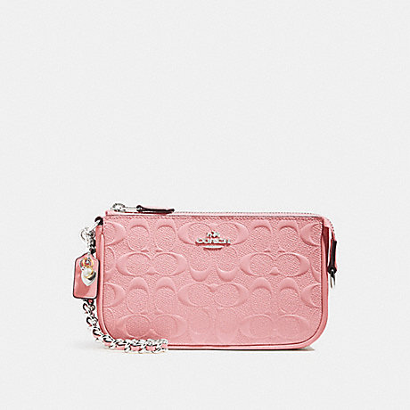 COACH LARGE WRISTLET 19 IN SIGNATURE LEATHER - PETAL/SILVER - F22698