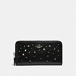 COACH ACCORDION ZIP WALLET WITH STARDUST STUDS - SILVER/BLACK - F22700