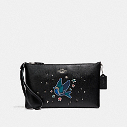 COACH LARGE WRISTLET 25 WITH BIRD MOTIF - SILVER/BLACK - F22702