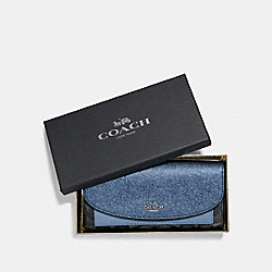 COACH BOXED SLIM ENVELOPE WALLET WITH METALLIC COLORBLOCK - SILVER/BLACK SMOKE - F22714