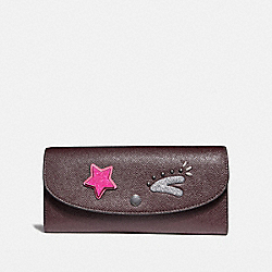 COACH SLIM ENVELOPE WALLET - BLACK ANTIQUE NICKEL/OXBLOOD 1 - F22726