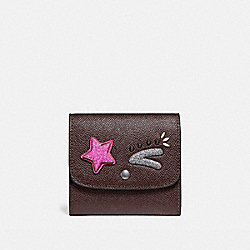 COACH SMALL WALLET - BLACK ANTIQUE NICKEL/OXBLOOD 1 - F22732