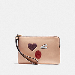 CORNER ZIP WRISTLET WITH GLITTER HEART - LIGHT GOLD/MULTICOLOR 1 - COACH F22738