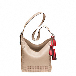COACH PERFORATED LEATHER DUFFLE - SILVER/BISQUE/HIBISCUS - F22762