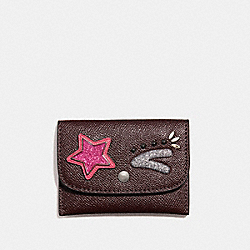 COACH CARD POUCH - BLACK ANTIQUE NICKEL/OXBLOOD 1 - F22774