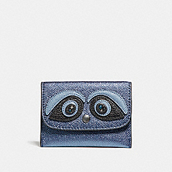 COACH CARD POUCH - BLACK ANTIQUE NICKEL/METALLIC NAVY - F22775