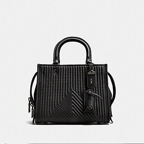 COACH ROGUE 25 WITH QUILTING AND RIVETS - BP/BLACK - F22797