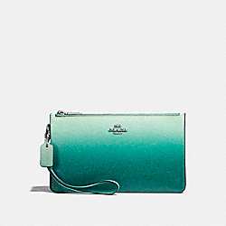 COACH CROSBY CLUTCH - SILVER/SEA GREEN - F22799