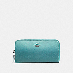 COACH ACCORDION WALLET - SILVER/SEA GREEN - F22808