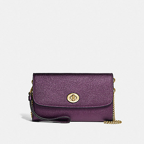 COACH CHAIN CROSSBODY - METALLIC RASPBERRY/LIGHT GOLD - F22828