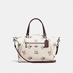 PRAIRIE SATCHEL WITH CROSS STITCH FLORAL PRINT - f22829 - CHALK CROSS STITCH FLORAL/DARK GUNMETAL