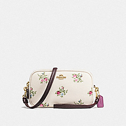 SADIE CROSSBODY CLUTCH WITH CROSS STITCH FLORAL PRINT - LI/CHALK CROSS STITCH FLORAL - COACH F22836