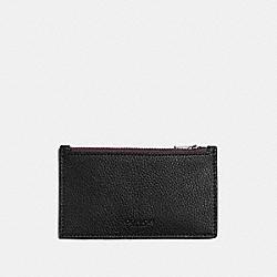 ZIP CARD CASE - OXBLOOD/BLACK - COACH F22837