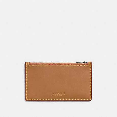 COACH ZIP CARD CASE - LIGHT SADDLE - F22879