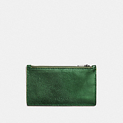 ZIP CARD CASE - METALLIC LIME/UTILITY - COACH F22879