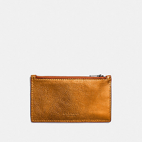 COACH ZIP CARD CASE - METALLIC ORANGE/GIFTING ORANGE - F22879